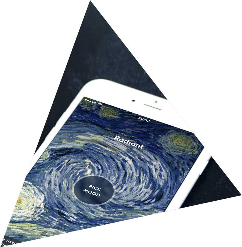 iPhone displaying IDAGIO's iOS app showing the mood player